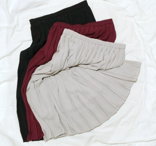 UNIQLOハイウエストシフォンプリーツミディスカート3色