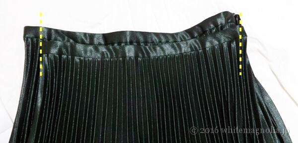 ZARAのプリーツ入りミディスカート(MとLのウエスト巾比較)
