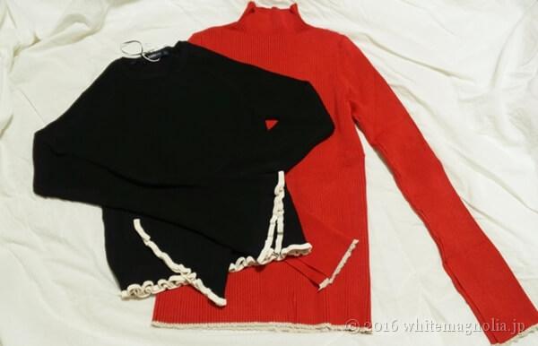 ZARAトランペットスリーブセーター(ブラック)とZARAリブセーター(レッド)