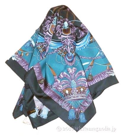 dinosブルーグリーンのシルクツイルスカーフ