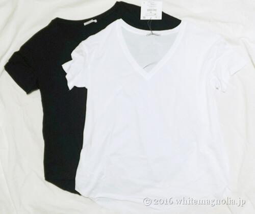 ZARA990円のVネックTシャツ(白と黒)