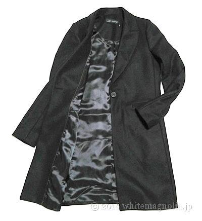 ZARAメンズ風デザインコート(ブラック)の前を開いたところ