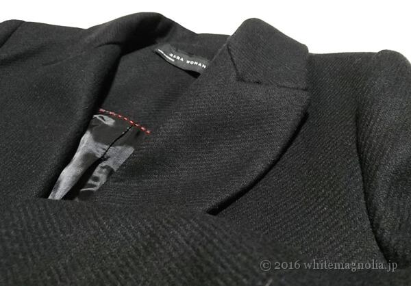 ZARAメンズ風デザインコート(ブラック)の襟元のアップ
