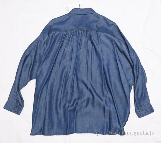 ZARAビッグシルエットシャツ(ダークブルー・ドルマンスリーブ)の背中側