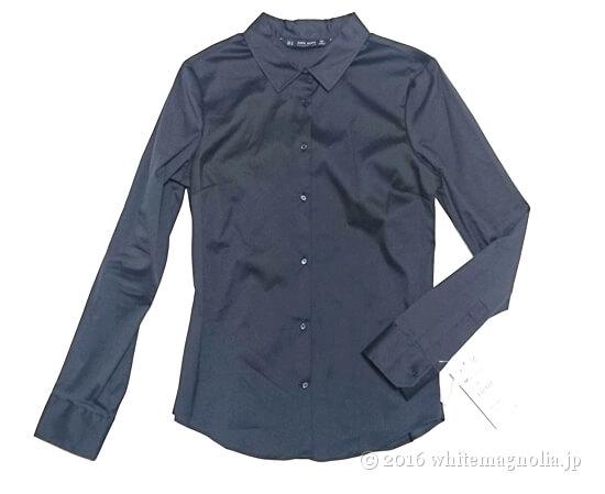 ZARAベーシックポプリンシャツ(ネイビー)