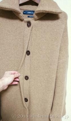 ZARA ハイカラーコート(ボタン周り)