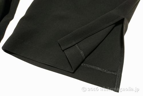 dinos アセテート混 ダブルクロス 裾スリット ワイドパンツ(裾)
