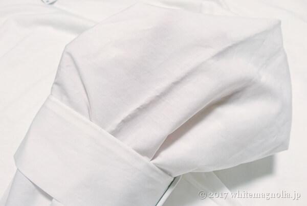 ZARAのバックルディテールTシャツ(袖の透け感)
