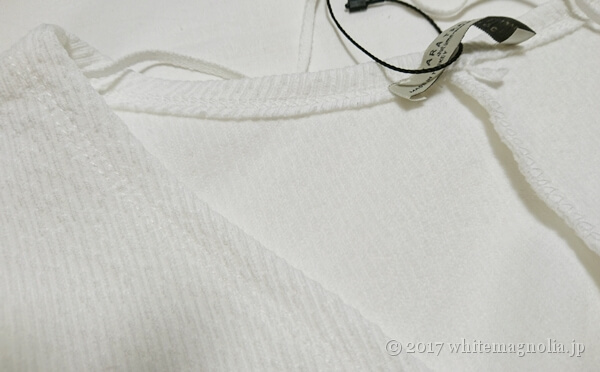 ZARAのバルーンスリーブTシャツ(襟周り)