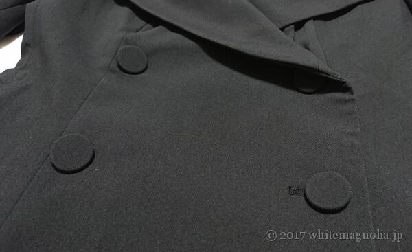 ZARAのダブルブレストVネックジャケット(ダブル部分のアップ)