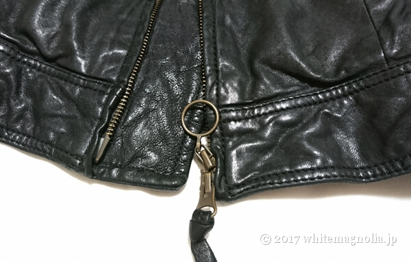 USEDレザージャケット(黒・ファスナー部分)