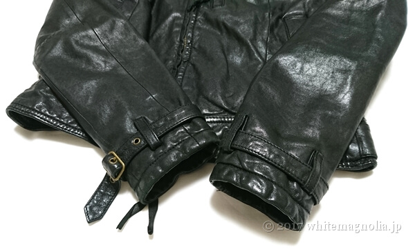 USEDレザージャケット(黒・袖口)