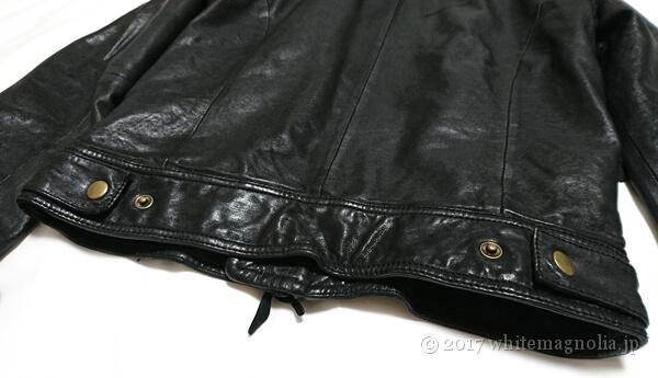 USEDレザージャケット(黒・装飾ベルト背中側のスナップボタン)