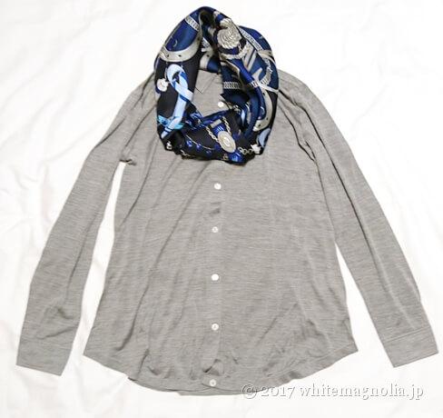 dinos シルクツイルスカーフ(2017AW・グレーシャツとのコーデ)