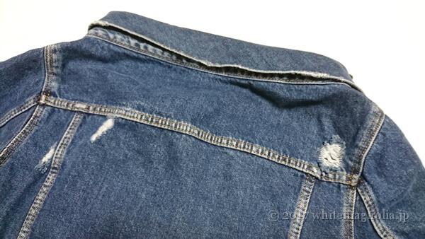 ZARA 刺繍入りボートネックデニムジャケット(襟周り・後ろ)